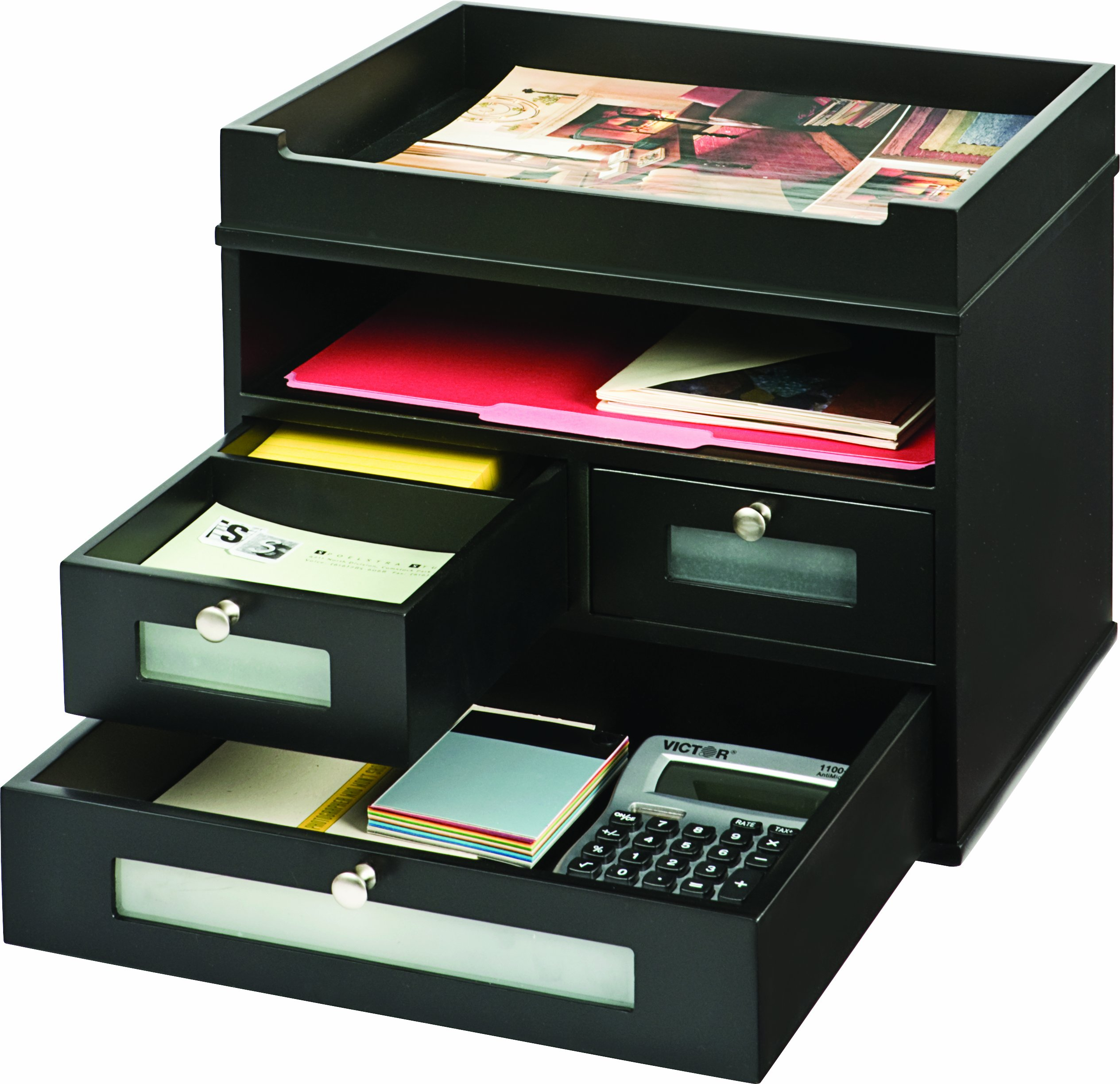 Victor Wood Midnight Black Collection, Tidy Tower Desktop Organizer, Black, (5500-5)