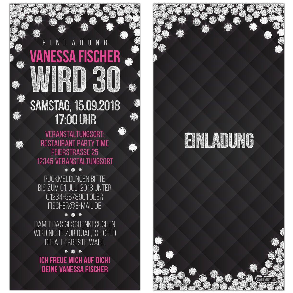 Elegant Einladungskarten Glamour Silber Diamant Pink Schwarz VIP Einladung Zum  Geburtstag, Personalisierte Geburtstagseinladung, 30 Stk.: Amazon.de:  Bürobedarf U0026 ...