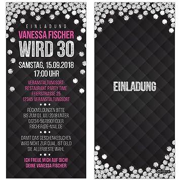 Einladungskarten Glamour Silber Diamant Pink Schwarz Vip Einladung