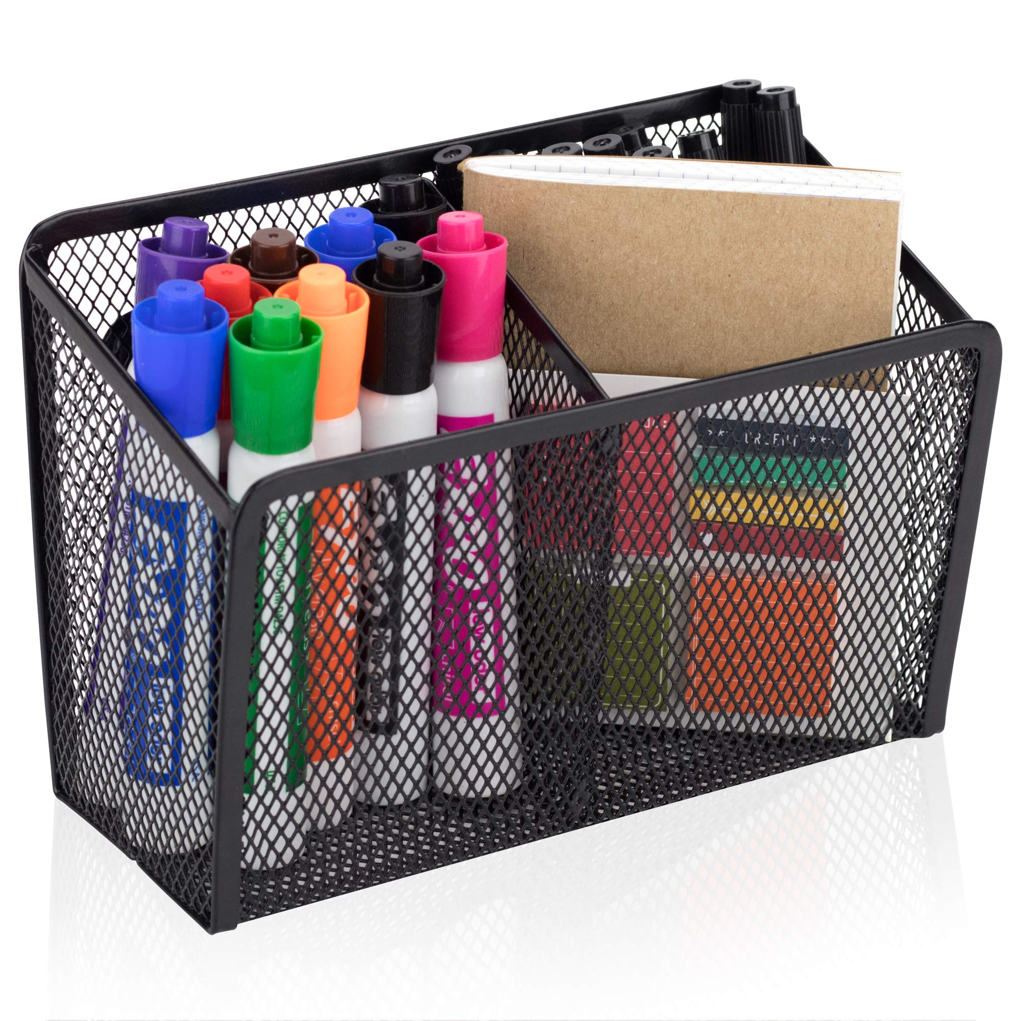 Workablez Magnetic Pencil Holder - 2 Generous Compartments Magnetic Storage Basket Organizer - Extra Strong Magnets - Perfect Mesh Pen Holder to Hold Whiteboard, Locker Accessories by Workablez