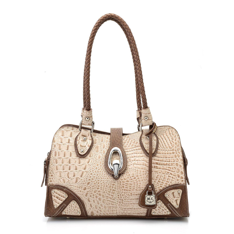 Daya Embossed Faux Crocodile Sable Leather Satchel Bag