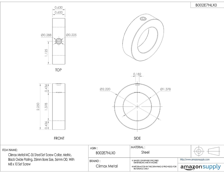 32mm OD 20mm Bore Size Metric Climax Metal MC-20 Steel Set Screw Collar Black Oxide Plating With M6 x 6 Set Screw