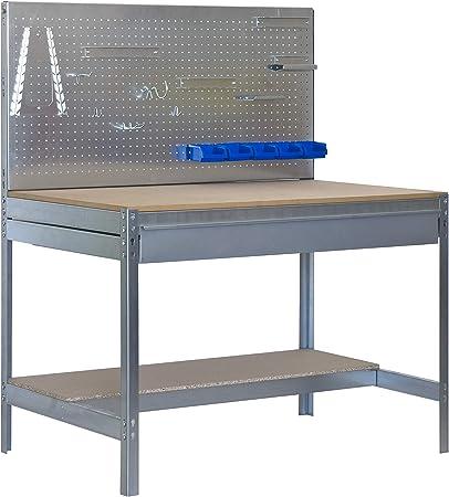 Banco de trabajo BT2 con cajón Simonwork Galva/Madera Simonrack 1445x1210x610 mms - Banco de trabajo con panel - mesa de bricolaje 600 Kgs de capacidad por estante