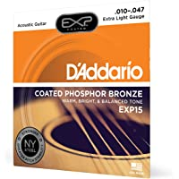 """D€™Addario EXP15 Coated Phosphor Bronze Acoustic Guitar Strings, Light, 10-47 €"""" Offers a Warm, Bright and Well-Balanced Acoustic Tone and 4x Longer Life - With NY Steel for Strength and Pitch Stability"""