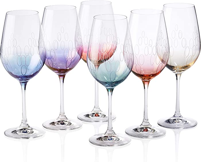 Bezrat Wine Glasses | 6-Piece 18 oz Stemware Set Made From Crystal-Clear, Lead-Free Glass | Modern Stemmed Wine Glassware Makes an Excellent Gift Idea for Wife, Birthday, Wedding, Housewarming