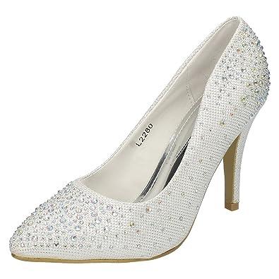 Ladies Anne Michelle Diamante Court Shoes Pumps