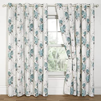 Hydrangea Floral Print Eyelet Lined Curtains, Duck Egg - 90
