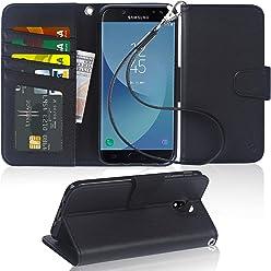 Arae Samsung Galaxy J7 2017 Flip case,Galaxy J7 2017 PU Leather Case with Card Slots and Wallet [Black]