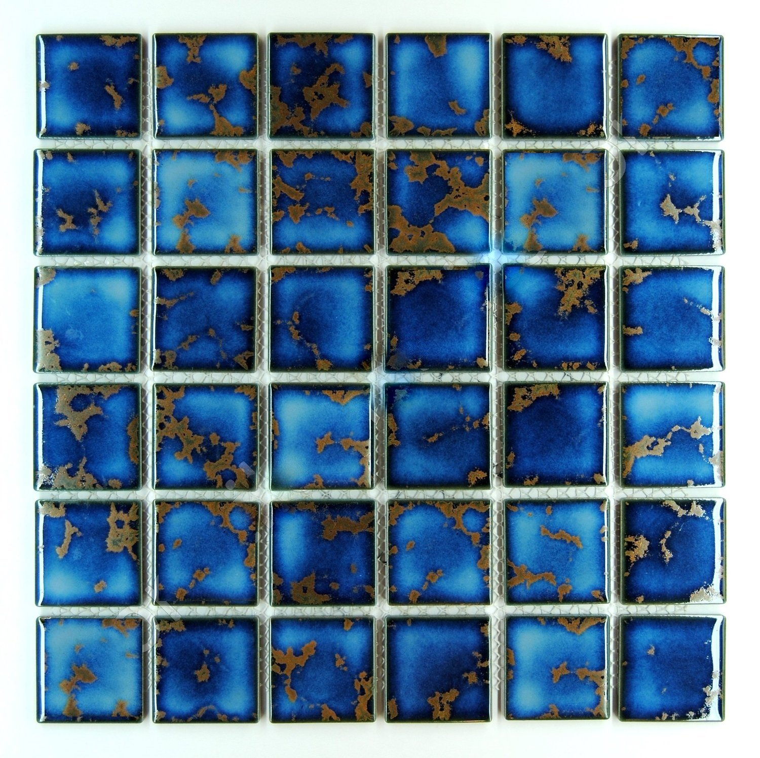 Vogue Premium Quality Square Blue Calacatta Porcelain Mosaic Glossy Tile for Bathroom Floors, Walls and Kitchen Backsplashes, Pool Tile Designed in Italy (12''x12'' - 1 Square Foot)