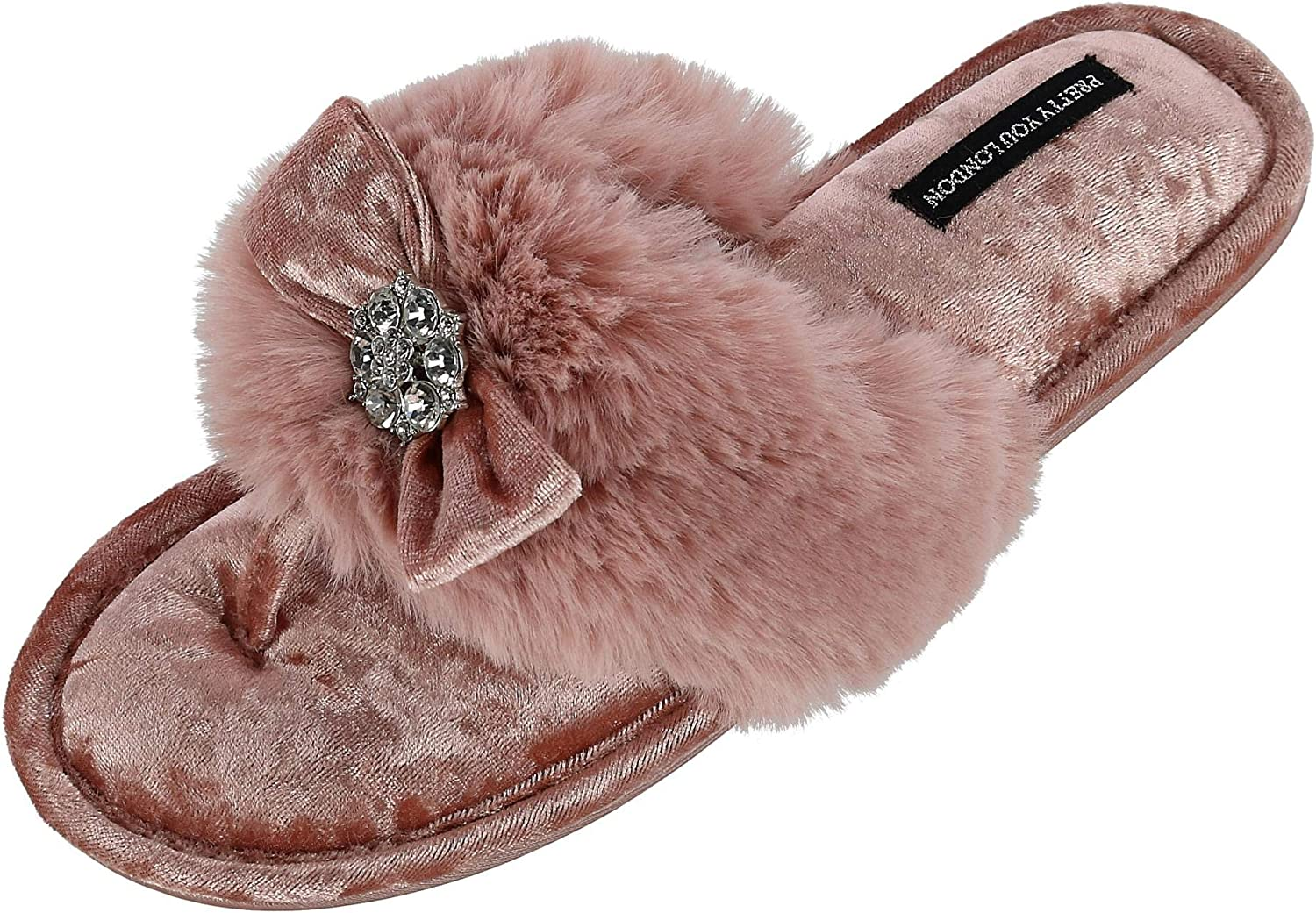 Pretty You London Womens Toe Post Amelie - Pink