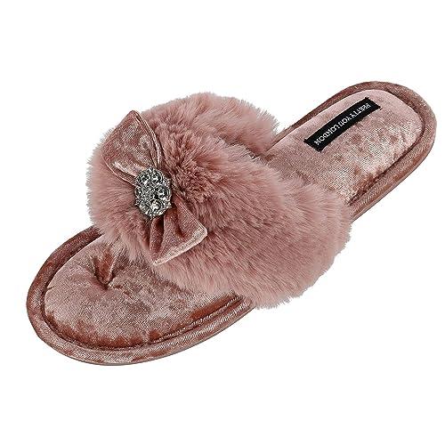 Pretty You - Zapatillas de Estar por casa de Sintético para Mujer Marfil Blanco Crema Talla única: Amazon.es: Zapatos y complementos