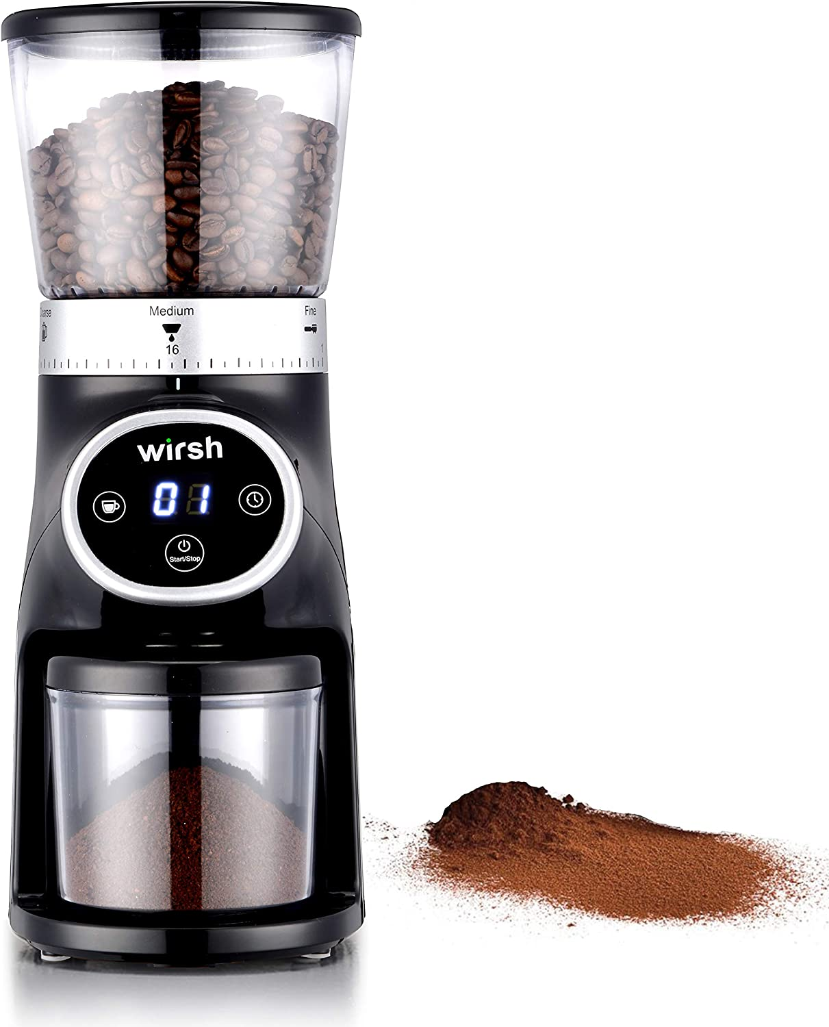 Wirsh Conical Burr Coffee Grinder - Coffee Grinder with Stainless Steel Conical Burr Mill, 31 Precise Grind Settings from Ultra-fine to Coarse, Electric Coffee Grinder for French Press, Pour Over, Drip, Siphon, Espresso and Turkish Coffee Makers