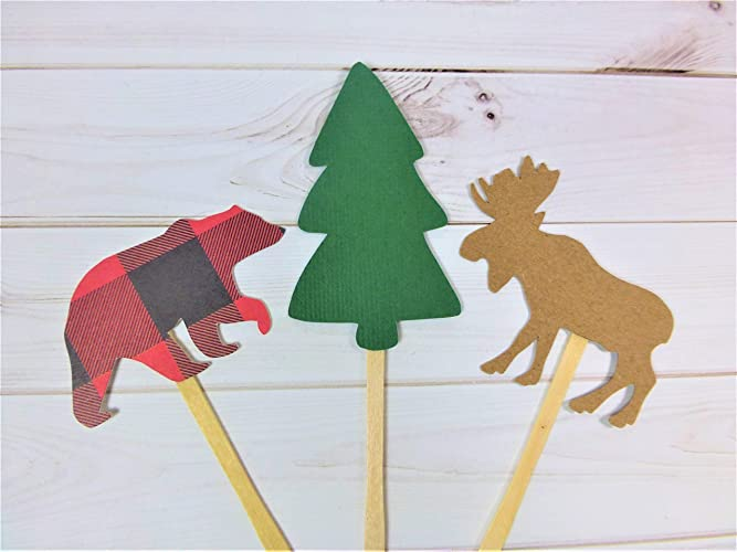 Christmas Themed 1st Birthday Party.Amazon Com Christmas Cupcake Topper 2 Packs Of 12 Bear Tree Moose