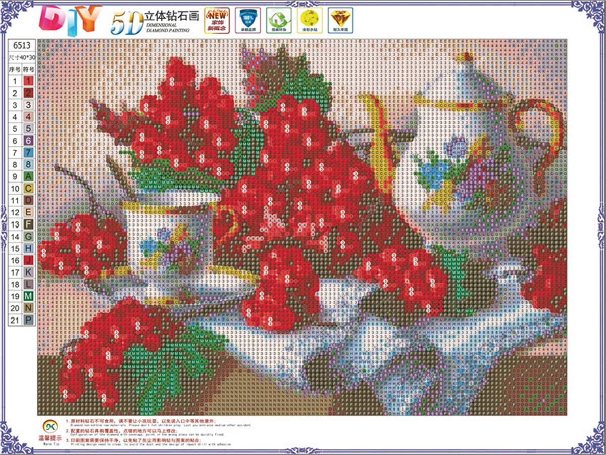 Crystal Rhinestone Diamond Embroidery Paintings Pictures Arts Craft for Home Wall Decor DIY 5D Diamond Painting by Number Kits Fruit on The Table