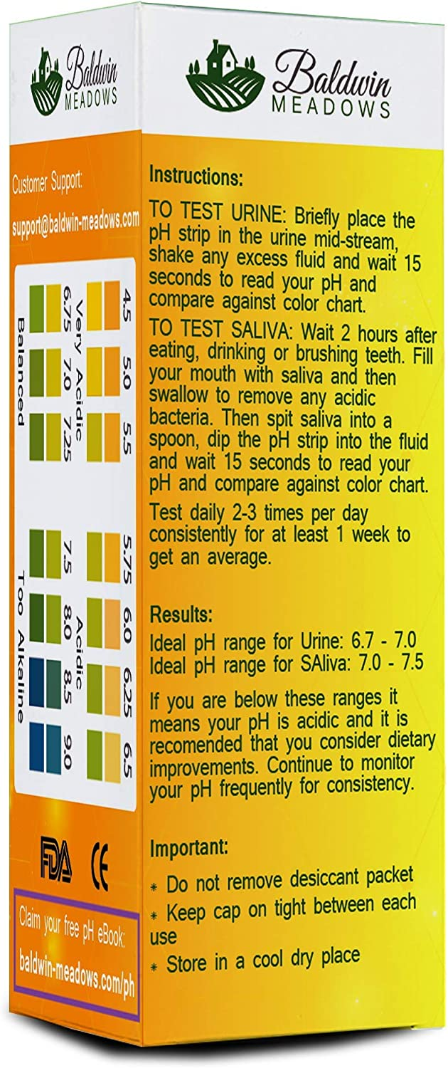 pH Test Strips for Urine & Saliva, Test Alkaline and Acid Levels in The Body. Easy-Instant-Accurate! 100 pH Testing Strips for Alkaline Diet Monitoring.: Health & Personal Care