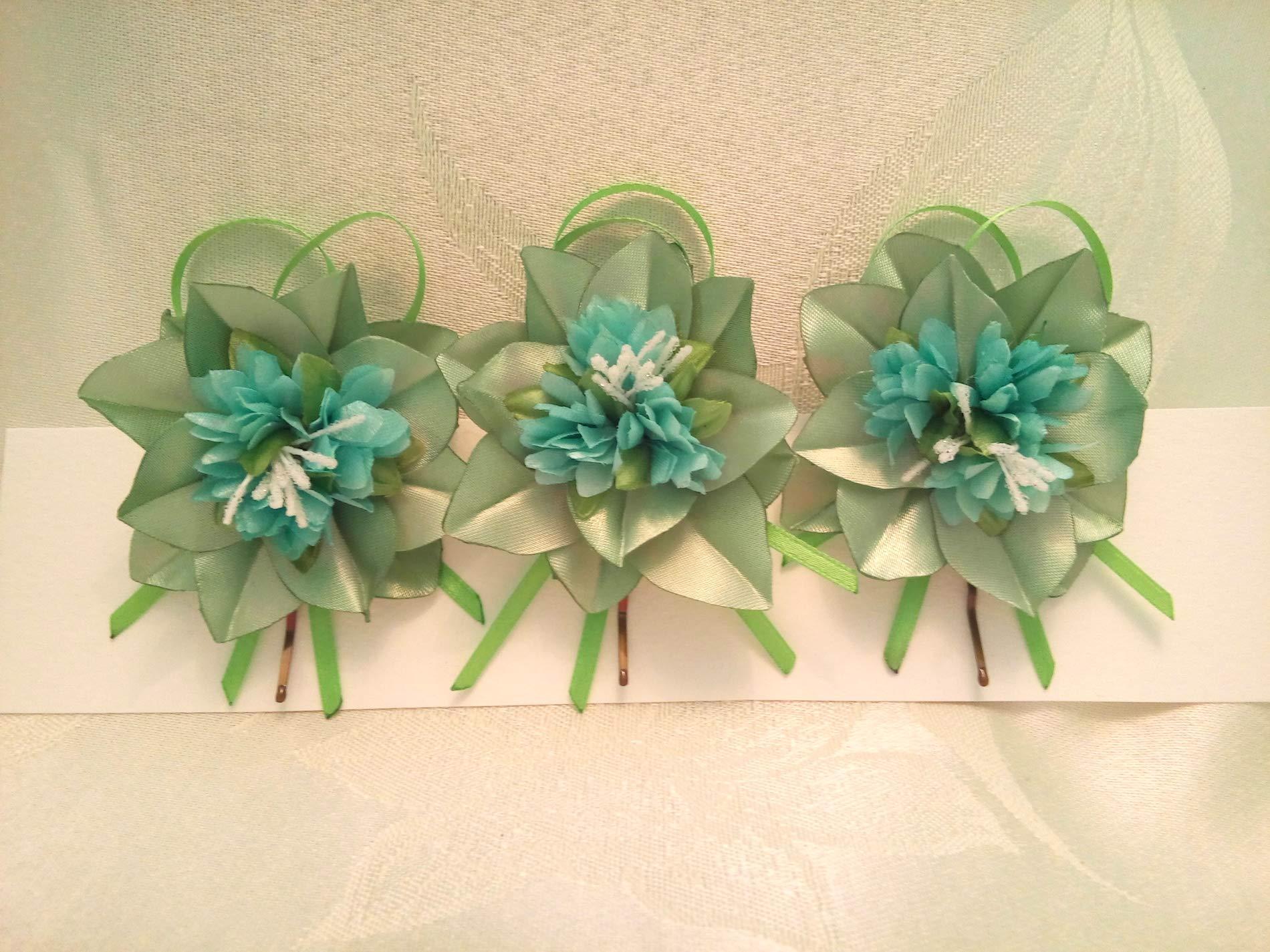 Bobby Pins Hair Green Mint Set of 3 flower Wedding hair flowers by Studio SilkFantazi