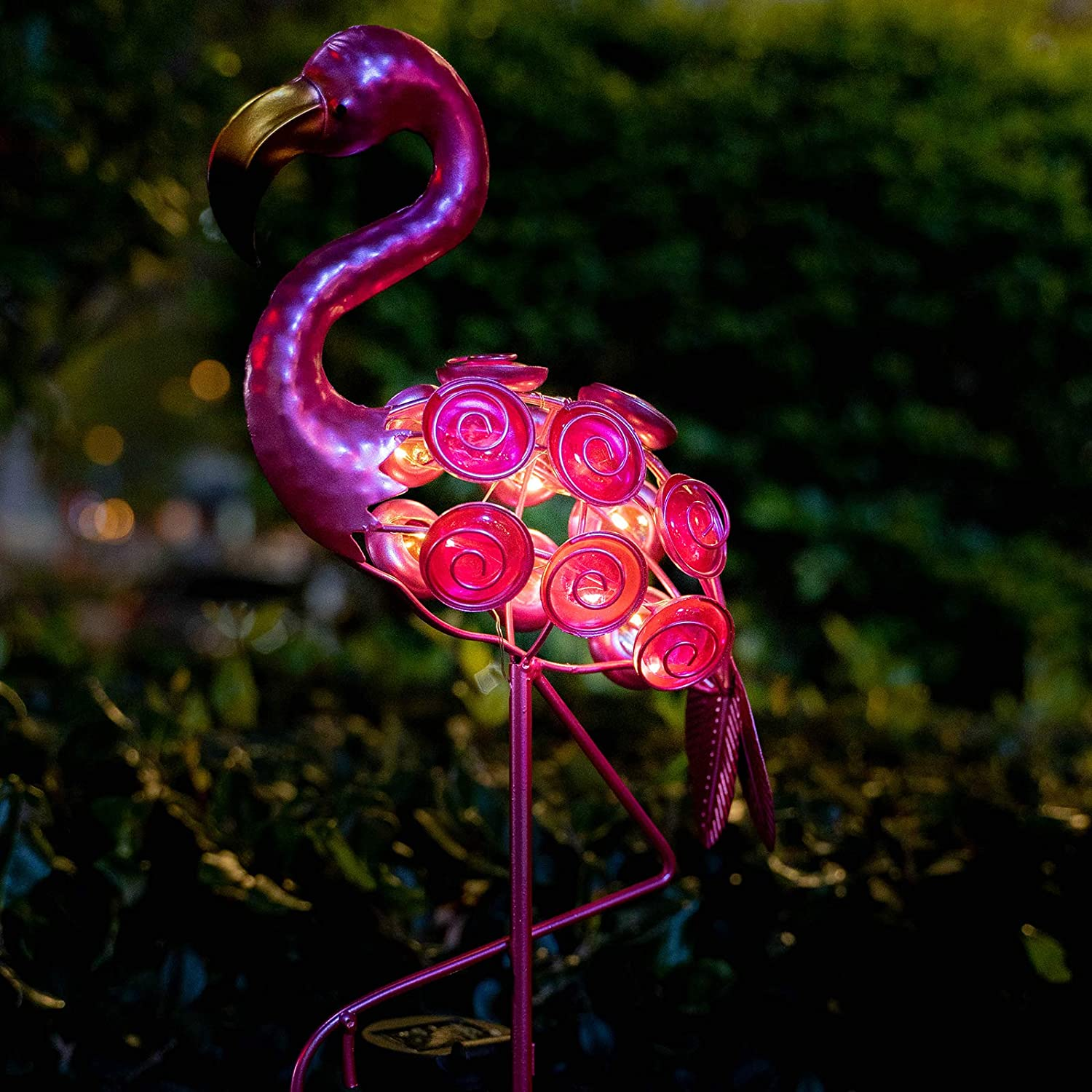 VEWOSTAR Flamingo Solar Lights Decor Outdoor Stake Metal Pathway Lights Waterproof for Patio Lawn