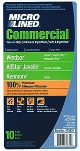 Commercial Vacuum Bags for Windsor Sensor, Sensor XP12, Versamatic Plus, Kenmore 50015 (10 Pk)