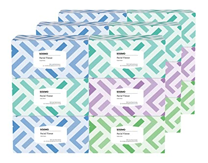 Amazon Brand   Solimo Facial Tissues, 160 Tissues Per Box (18 Flat Boxes) by Solimo