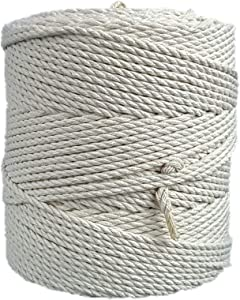 MB Cordas Macrame Cord 4 mm 284 yd (853 feet) - 3PLY Cotton Rope for Macrame Dream Catcher, Wall Hanging, Plant Hanger, Gift Wrapping and Wedding Decorations