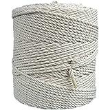 MB Cordas Macrame Rope 4mm x 260m Natural Cotton Cord - 3PLY Strong Cotton String - Knitting, Crochet, Macramé - Handbag, Han