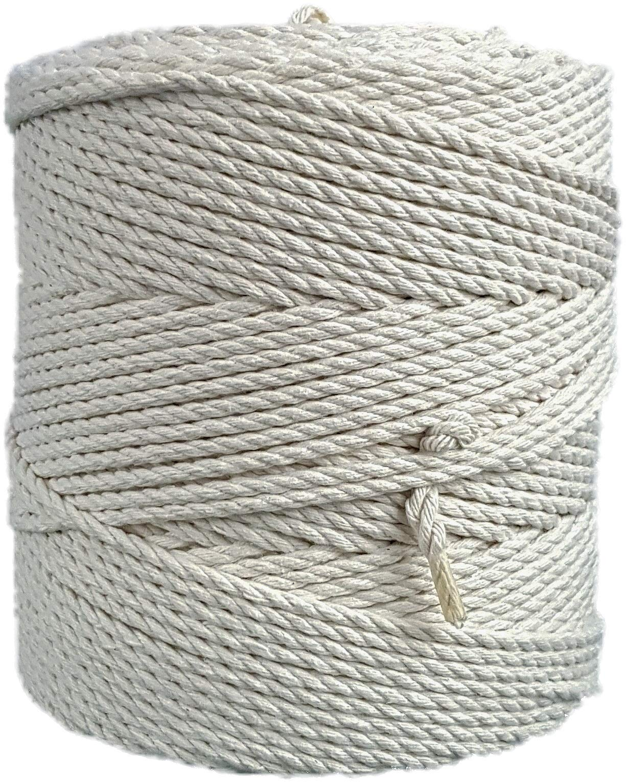Macrame cord 4mm natural cotton cord 853 feet macrame rope 284 yd. cotton rope (4mm x 260m (about 284 yd.)) by MB Cordas (Image #1)