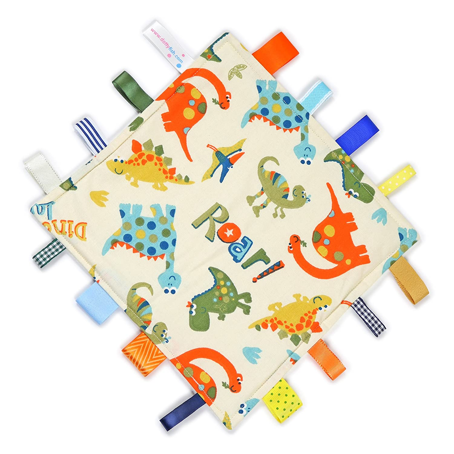 Dotty Fish Baby Tag Blanket with Cuddle Soft Backing. Handmade Baby Taggie Blanket. Sensory Blanket for Baby Boys and Girls. Cream with Multicoloured Owls and Minky fleece backing.