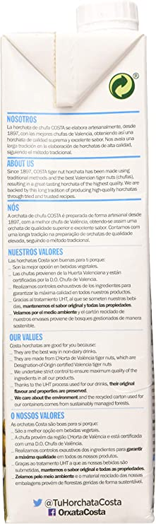 Costa Costa Horchata Chufa Uht 1L. 1000 ml - Pack de 6: Amazon.es ...
