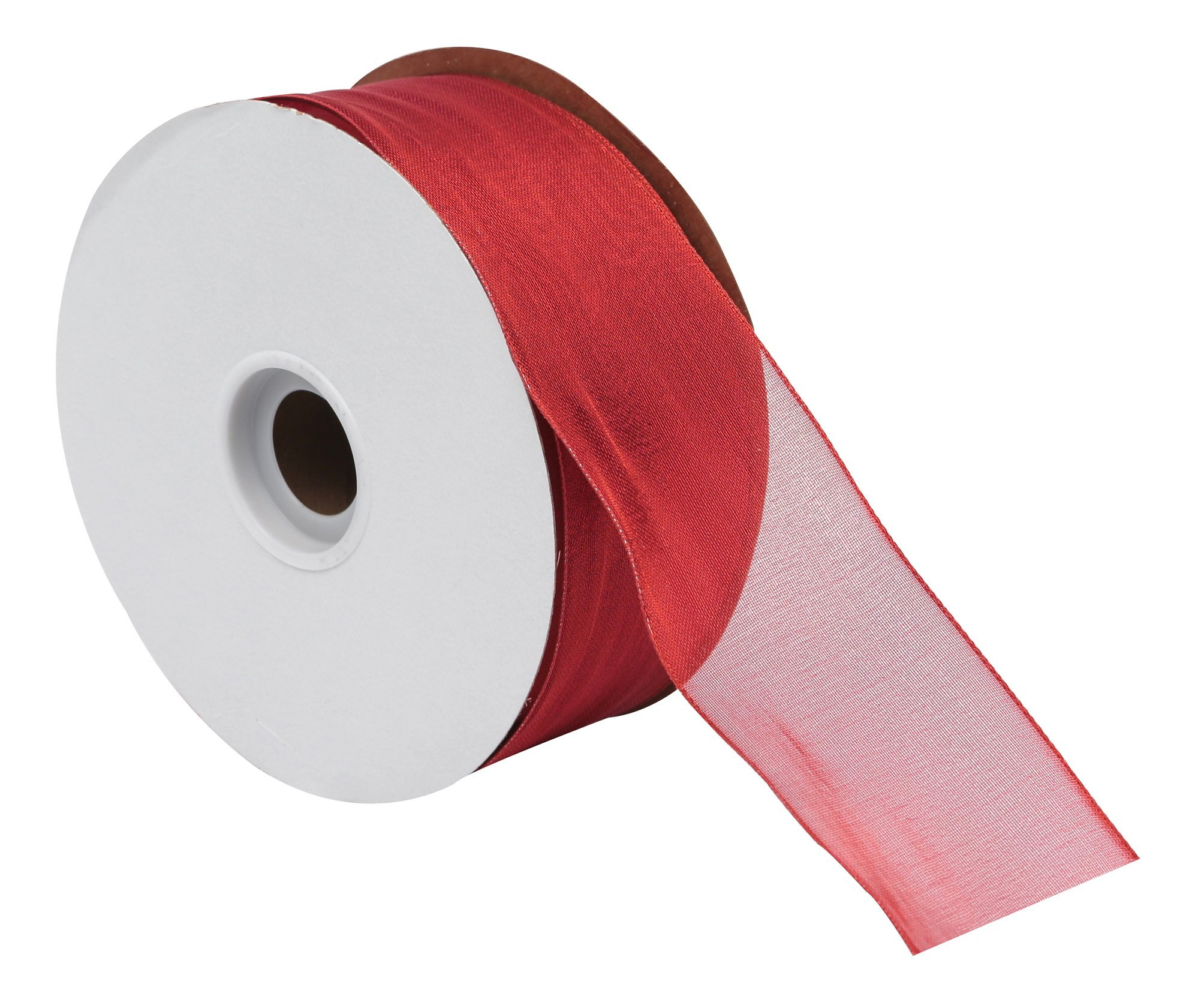 Offray Wired Edge Metallic Sheer Ribbon, 2'' Wide, 50 Yards, Red