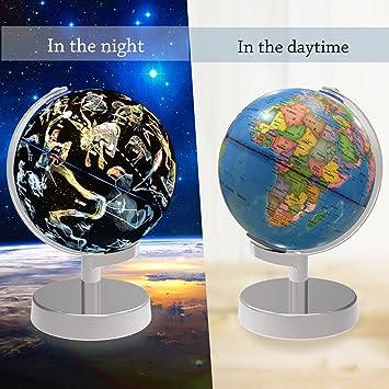 Beleuchtet Welt Globus, 2 in 1 Globus Erde und Konstellationen ...