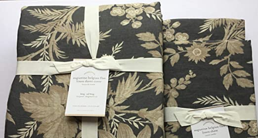 POTTERY BARN Floral Augustine Belgian FLAX Linen Standard Sham 1