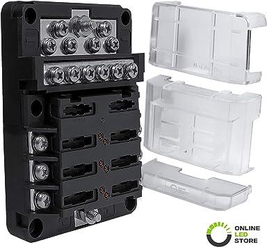Amazon.com: 6 Way Fuse Box with 12 Ground Negative Busbar for Automotive  [12V - 32V DC] [100 Amp Max] [Modular Design] [ATC/ATO Fuses] [LED  Indicator] Auto Marine Ground Fuse Block: AutomotiveAmazon.com