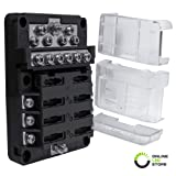 6 Way Fuse Box with 12 Ground Negative Busbar for