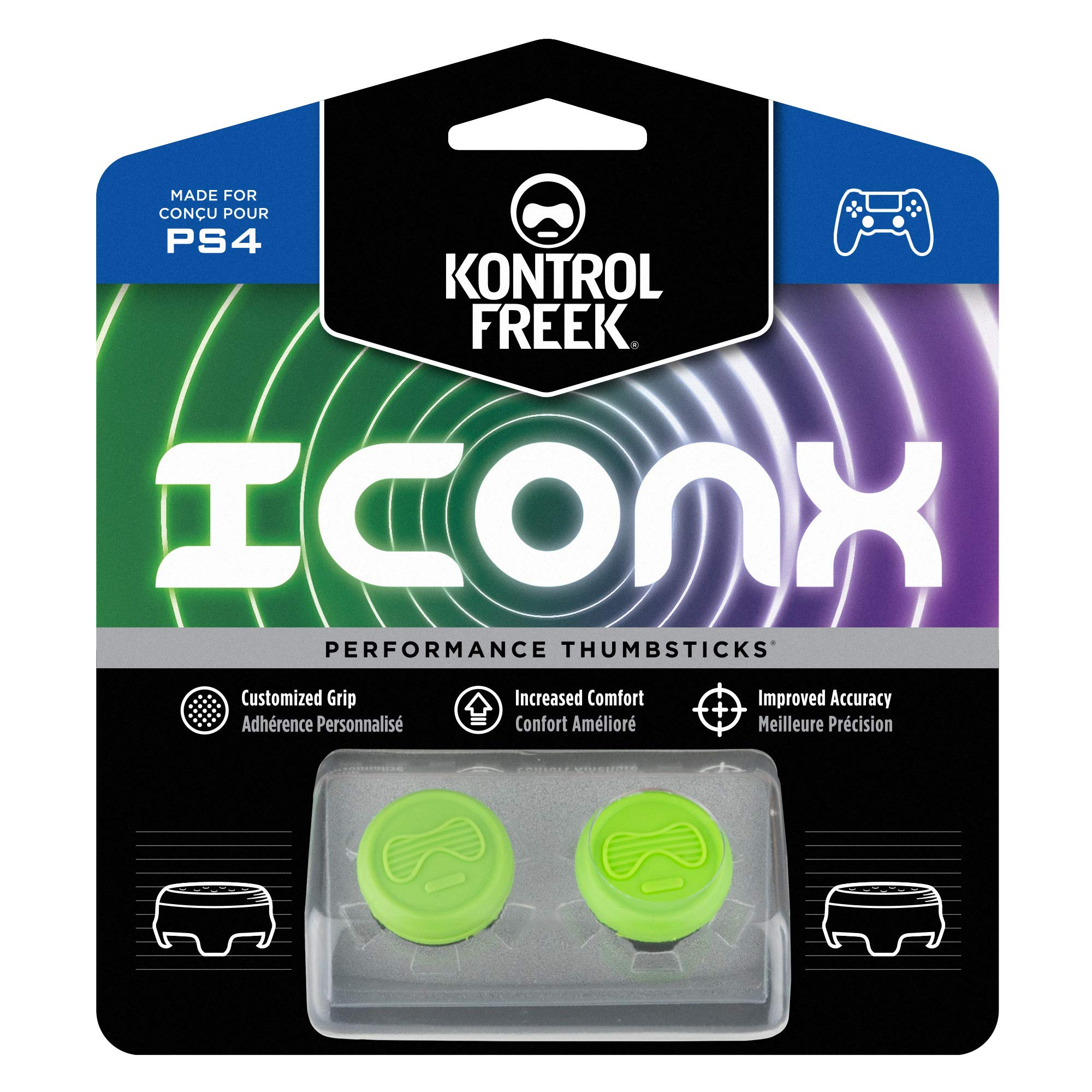 KontrolFreek Icon X Performance Thumbsticks for PlayStation 4 (PS4) | 2 Mid-Rise Convex | Green by KontrolFreek