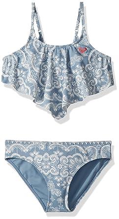 7c872947f7 Roxy Big Girls' Nautical Summer Bandana Swimsuit Set, Blue Shadow Kids, 7