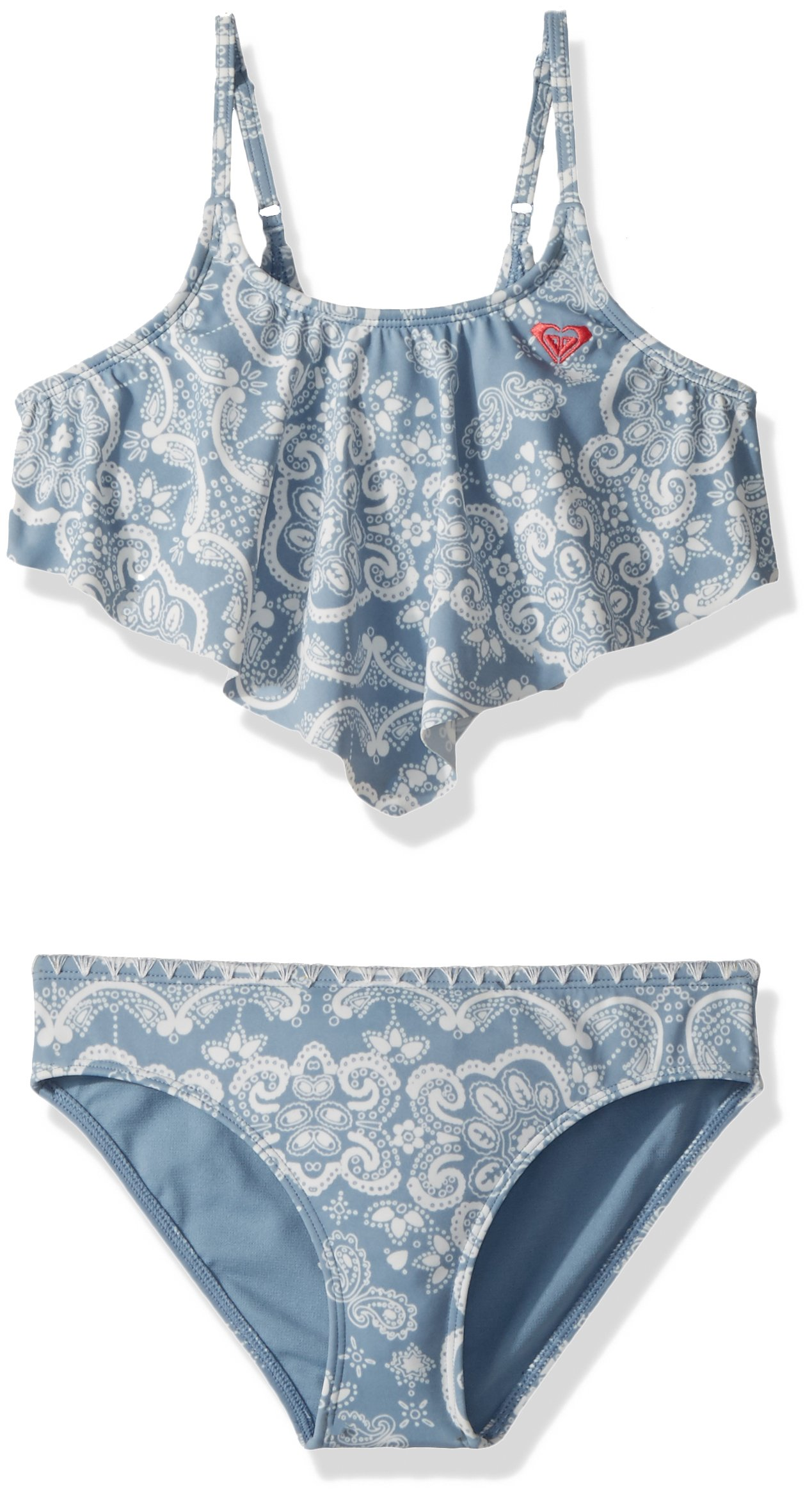 Roxy Big Girls' Nautical Summer Bandana Swimsuit Set, Blue Shadow Bandana Kids, 8