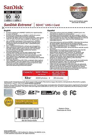 SanDisk Extreme 32GB SDHC UHS-I Card (SDSDXVE-032G-GNCIN) [Newest Version]
