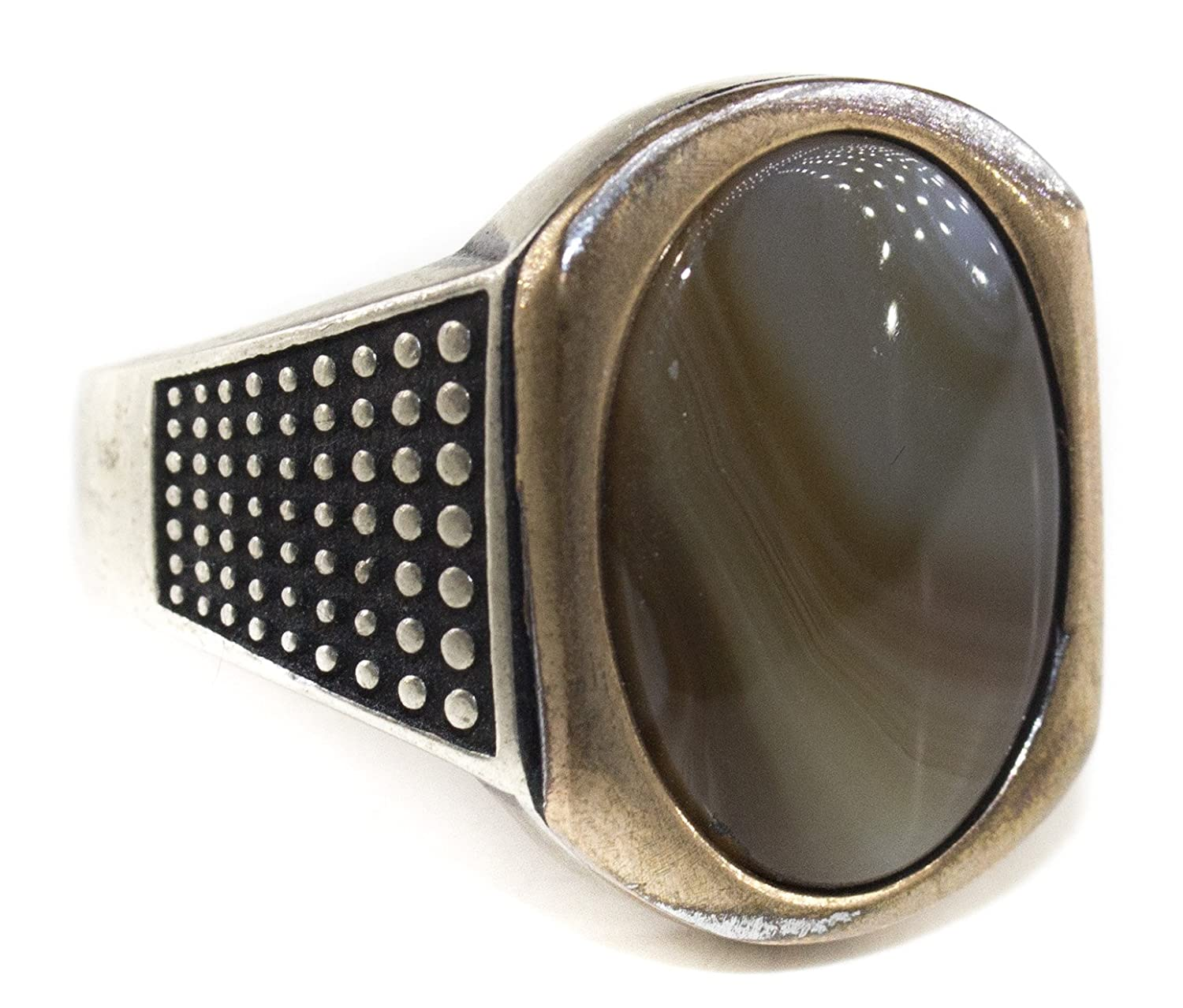 Falcon Jewelry Sterling Silver Men Ring Agate Natural Gemstone