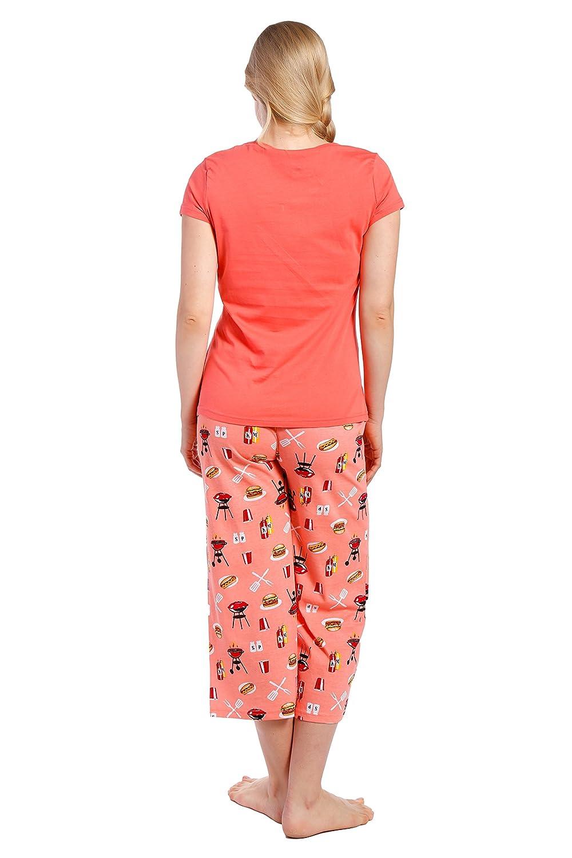 Conjunto Pijama de Algodón para Joven Mujer - Barbacoa - Rosa Salmón - XL: Amazon.es: Ropa y accesorios