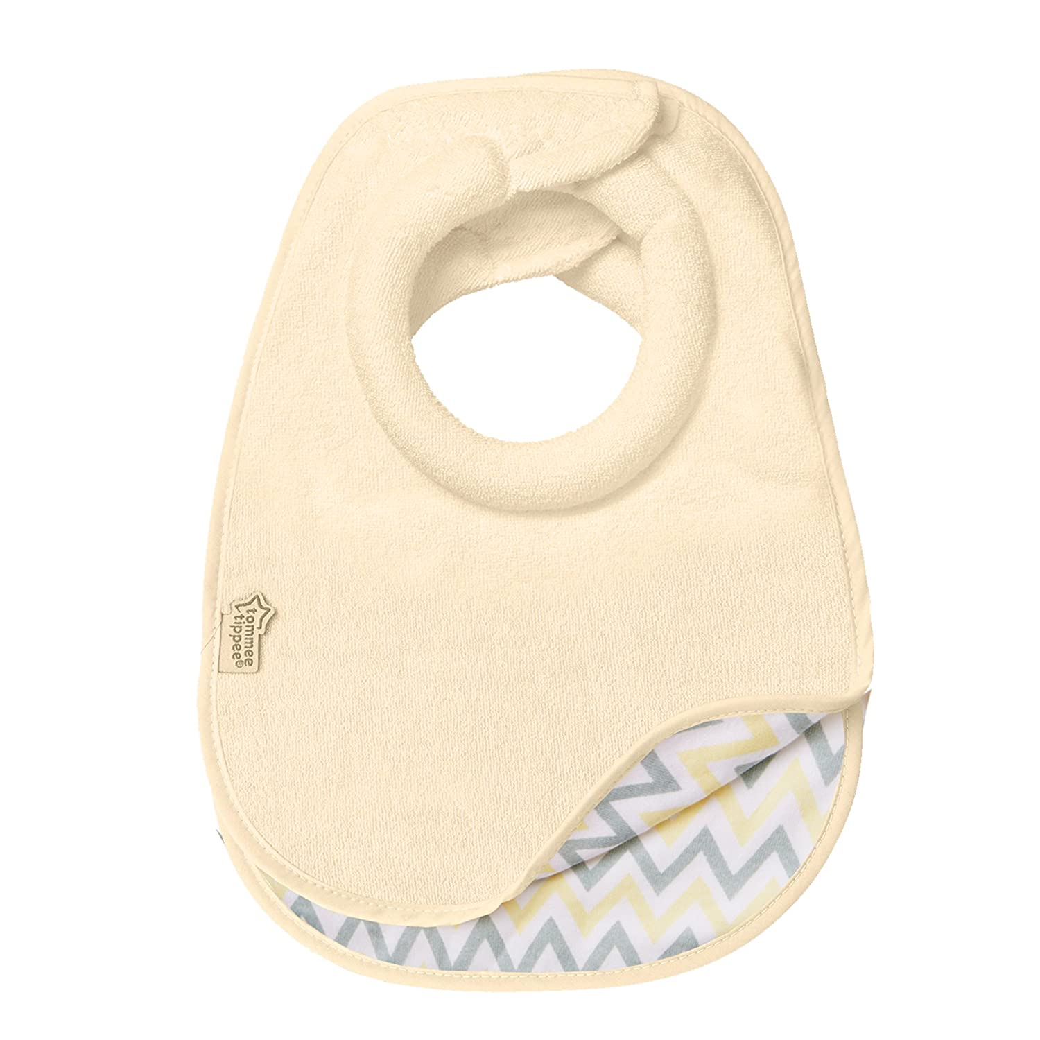 Tommee Tippee Closer to Nature Comfi-Neck Reversible Soft Baby Bib with Padded Collar, 0+ Months - Cream Chevron, 2 Count
