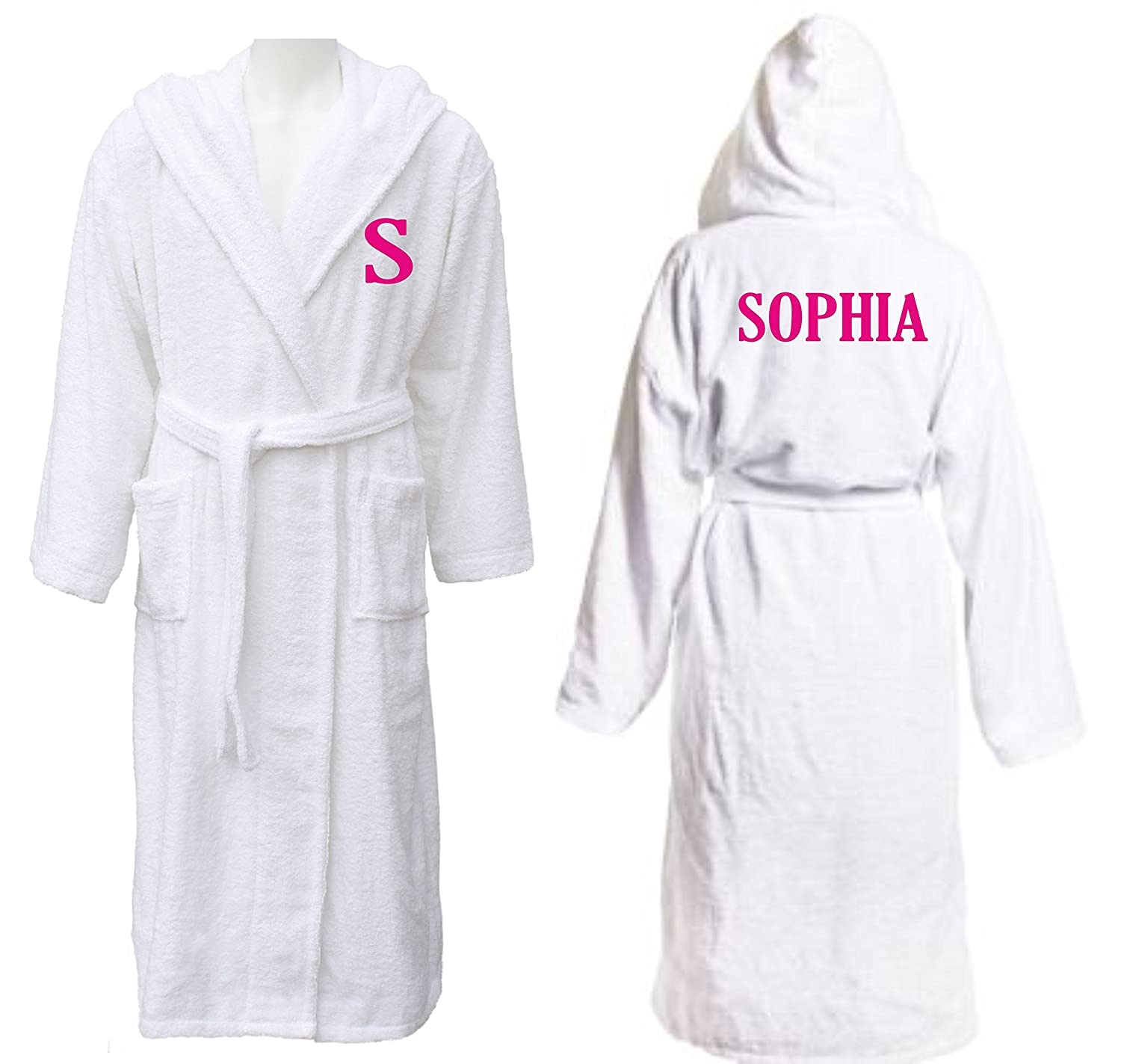 Big Babies Boutique Personalised Embroidered Girls White Hooded Bath Robe with Name and Initial