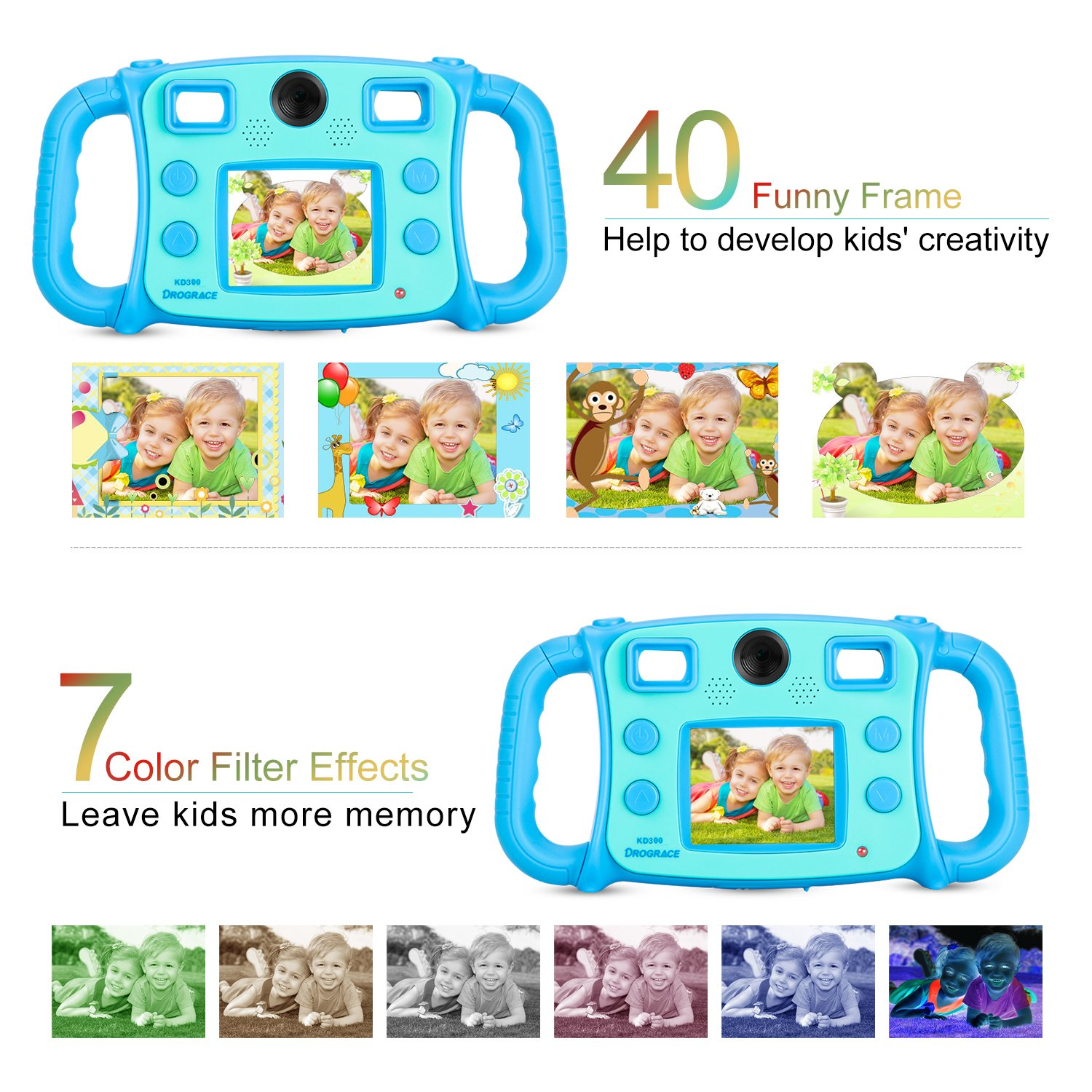 """Prograce Kids Camera Dual Selfie Camera 1080P HD Video Recorder Digital Action Camera Camcorder for Boys Girls Gifts 2.0"""" LCD Screen with 4X Digital Zoom and Funny Game(Blue) by PROGRACE (Image #5)"""