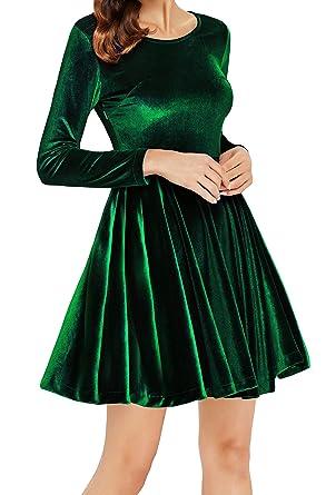 704458c2781fe0 Annigo Velvet Dress for Women Long Sleeve Pleated New Years Eve Dress,Dark  Green,