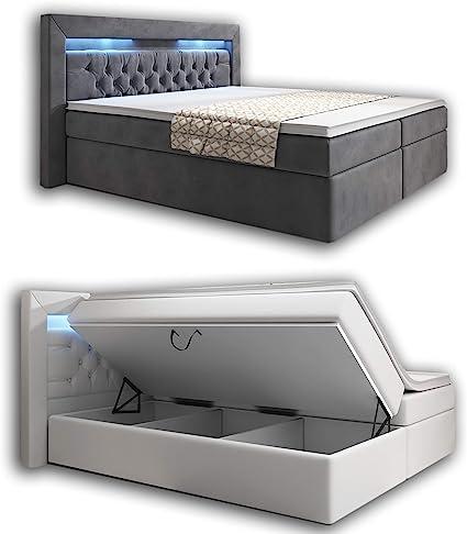 wohnenluxus Cama con somier, 180 x 200 cm, color blanco, York, cama de hotel, colchón LED, luz de cabeza Chesterfield