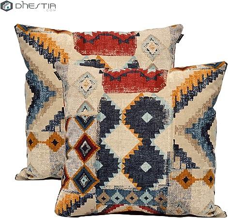 Dhestia Pack X 2 Fundas Cojines Decoración Sofá Y Cama 45X45 Cm Diseño (Etnic 124), Multicolor, 45 X 45 Cm: Amazon.es: Hogar