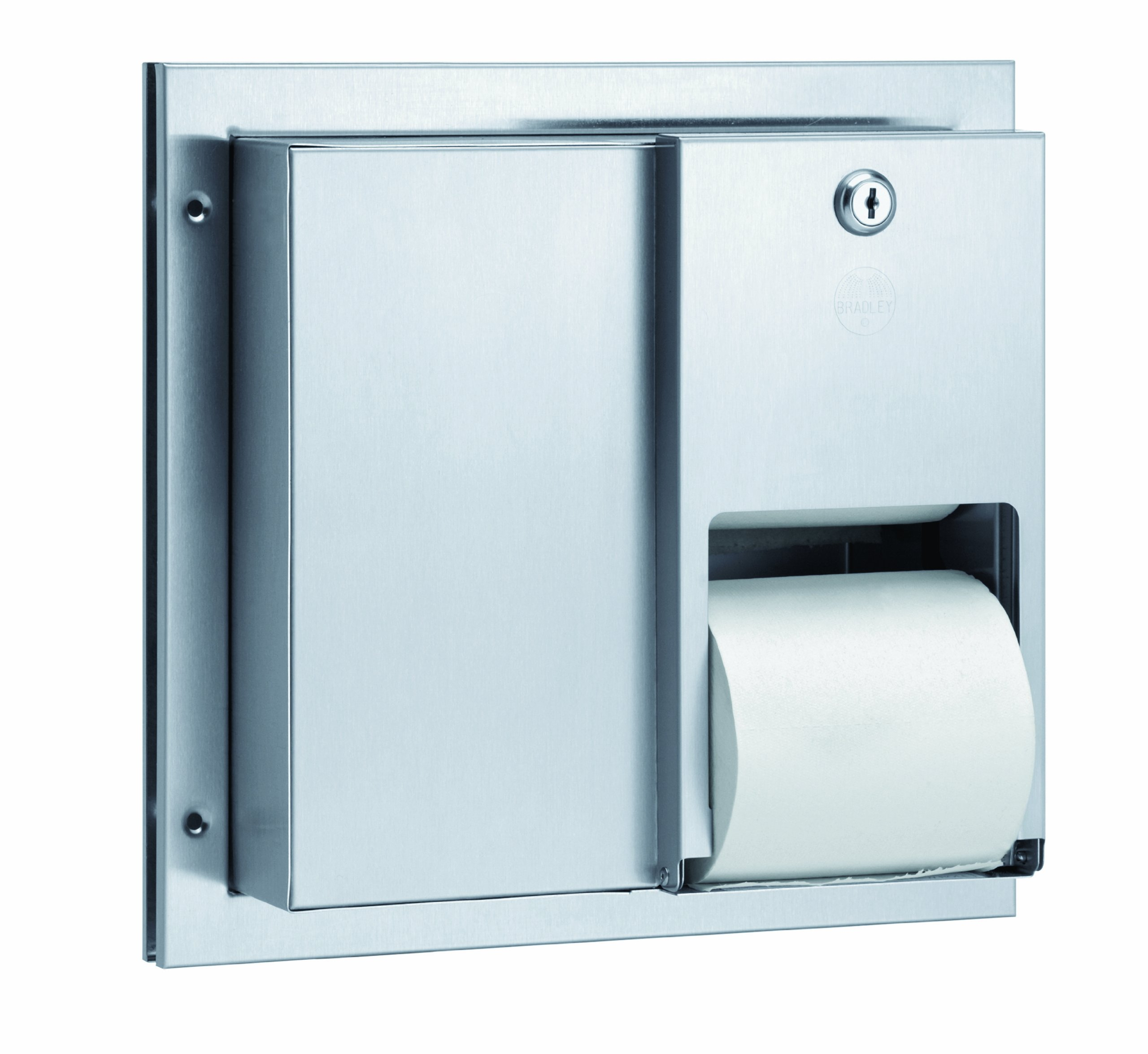 Bradley 5422-000000 22 Gauge Stainless Steel Partition Mounted Toilet Tissue Dispenser, 13'' Width x 12-3/8'' Height x 6-1/4'' Depth