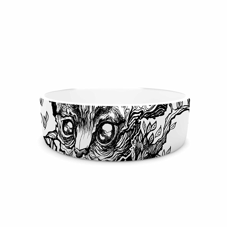 7\ KESS InHouse Anya Volk Forest Spirit  Black Nature Pet Bowl, 7