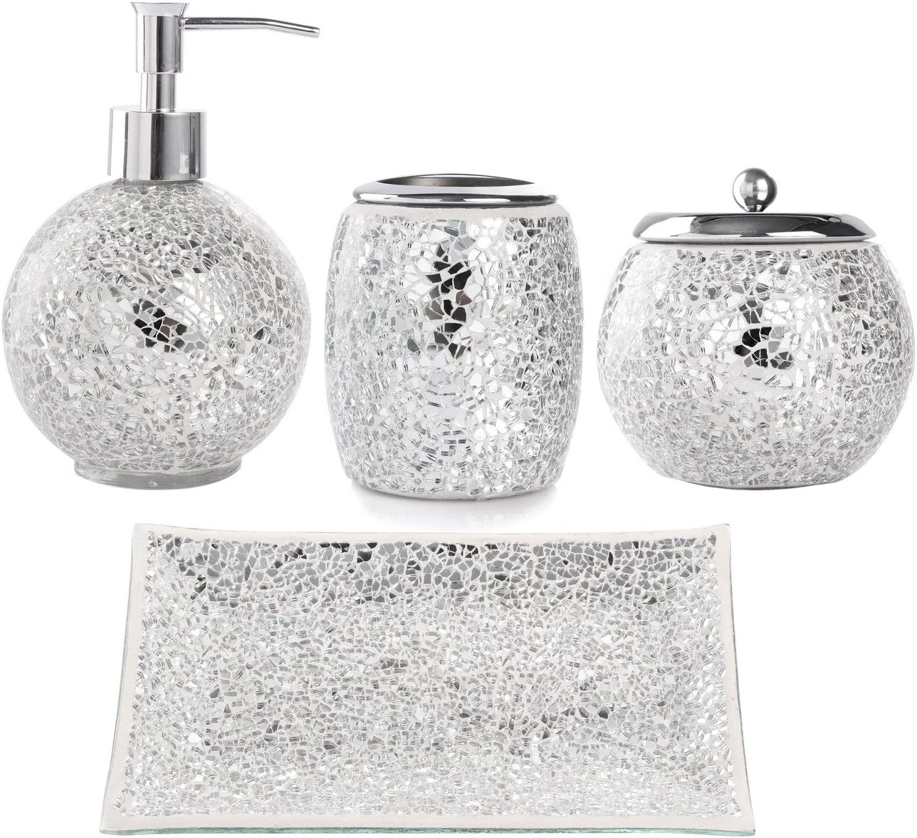 Whole Housewares Bathroom Accessories Set, 4-Piece Glass Mosaic Bath Accessory Completes with Lotion Dispenser/Soap Pump, Cotton Jar, Vanity Tray, Toothbrush Holder (Silver)