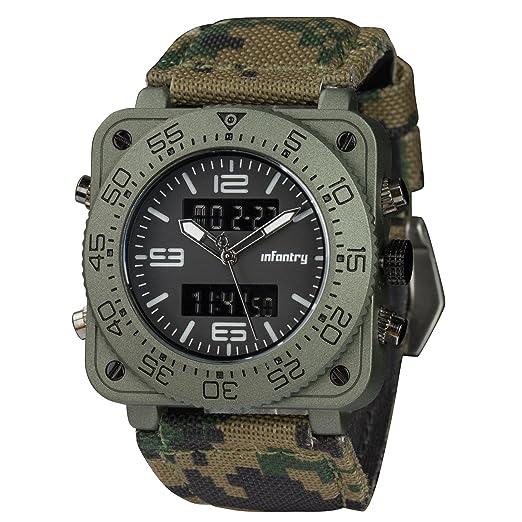 Infantería para hombre Big Face camuflaje táctico militar Multifunción analógico cuarzo deporte reloj de pulsera, camuflaje: Amazon.es: Relojes