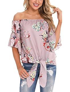 Landove Blusas y Camisas Mujer Estampadas Flores Camiseta Bohemia ...